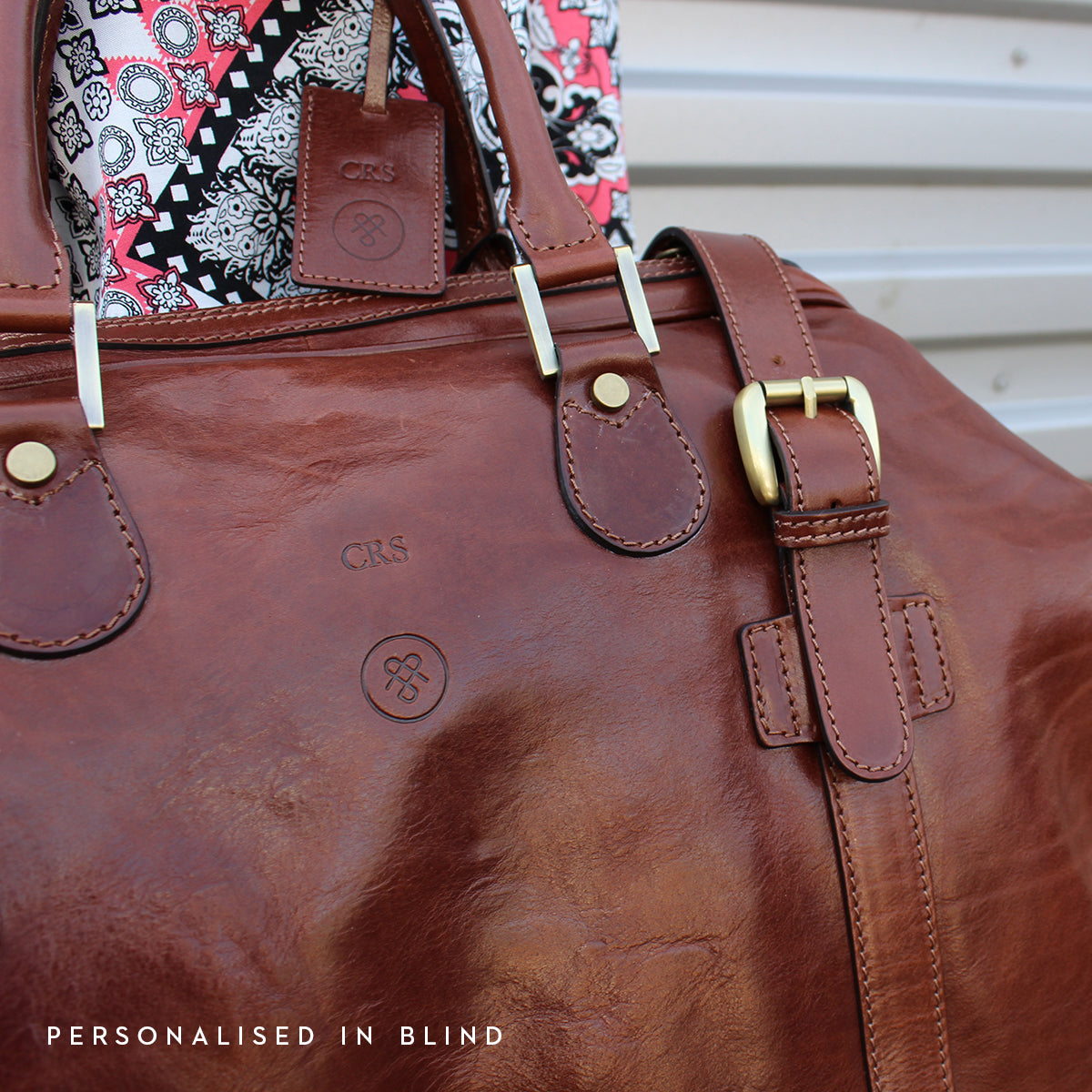 Image 9 of the Large 'Flero' Dark Chocolate Veg-Tanned Leather Holdall