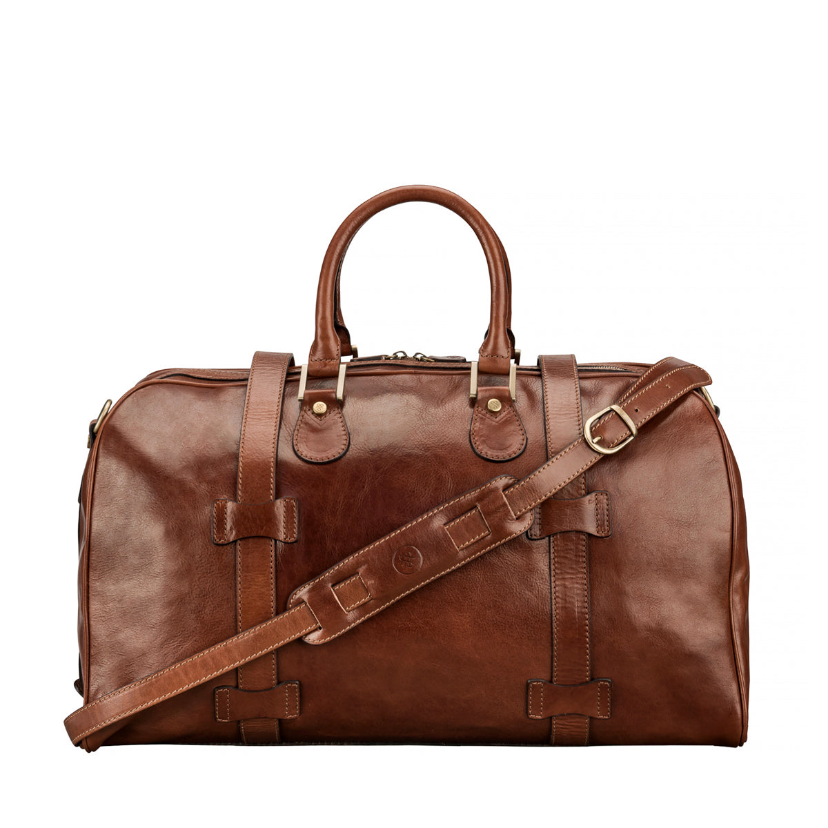 Image 4 of the 'Flero' Chestnut Veg-Tanned Leather Holdall
