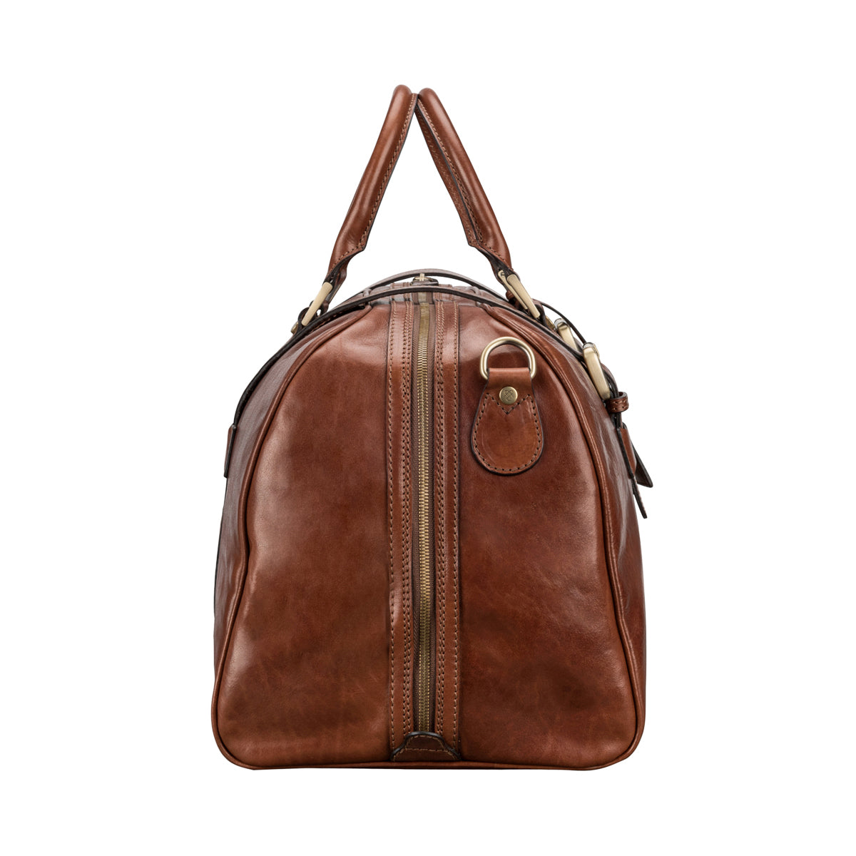Image 3 of the 'Flero' Chestnut Veg-Tanned Leather Holdall