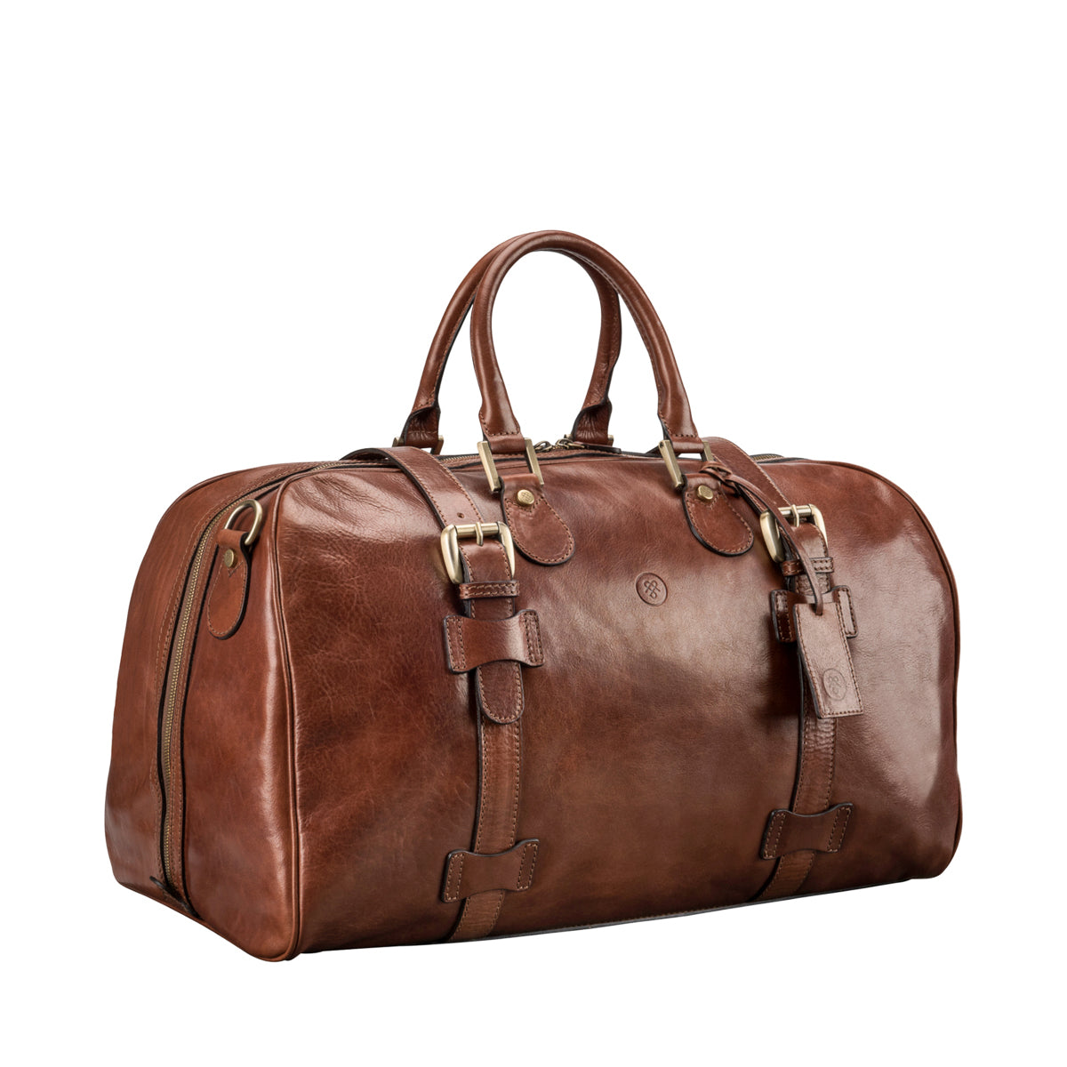 Image 2 of the 'Flero' Chestnut Veg-Tanned Leather Holdall