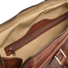 Image 7 of the 'Flero' Chestnut Veg-Tanned Leather Holdall