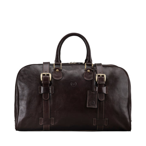 Image 1 of the 'Flero' Dark Brown Veg-Tanned Leather Holdall