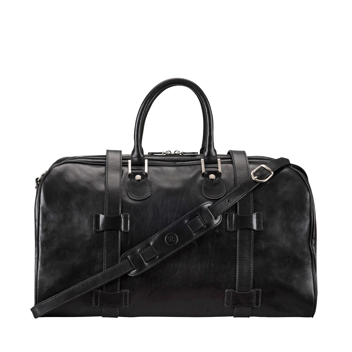 Image 4 of the 'Flero' Black Veg-Tanned Leather Holdall