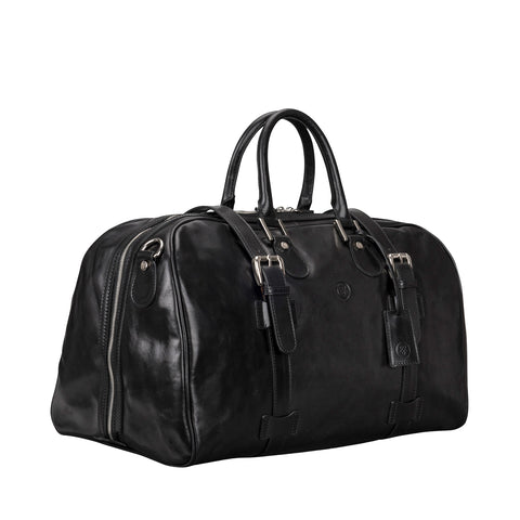 Image 2 of the 'Flero' Black Veg-Tanned Leather Holdall