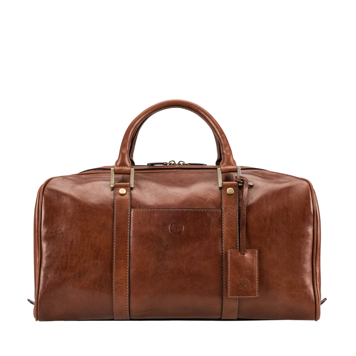 Image 1 of the 'Flero' Compact Chestnut Veg-Tanned Leather Holdall