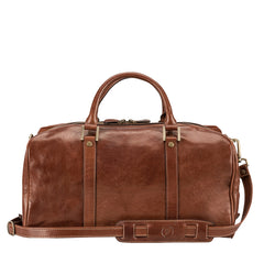 Image 4 of the 'Flero' Compact Chestnut Veg-Tanned Leather Holdall