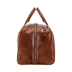 Image 3 of the 'Flero' Compact Chestnut Veg-Tanned Leather Holdall