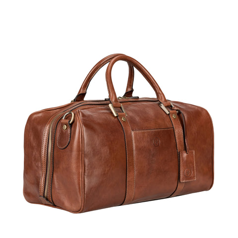 Image 2 of the 'Flero' Compact Chestnut Veg-Tanned Leather Holdall