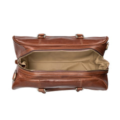 Image 5 of the 'Flero' Compact Chestnut Veg-Tanned Leather Holdall