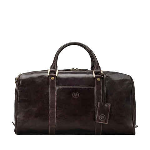 Image 1 of the 'Flero' Compact Dark Chocolate Veg-Tanned Leather Holdall