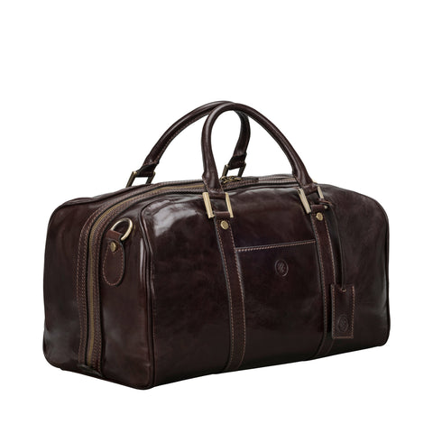 Image 2 of the 'Flero' Compact Dark Chocolate Veg-Tanned Leather Holdall