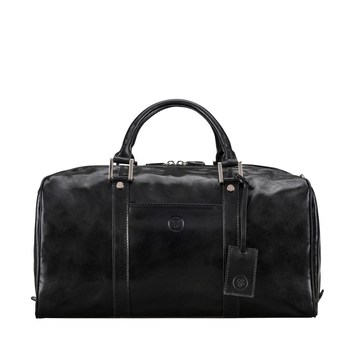 Image 1 of the 'Flero' Compact Black Veg-Tanned Leather Holdall
