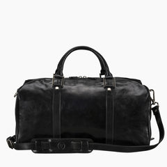 Image 4 of the 'Flero' Compact Black Veg-Tanned Leather Holdall