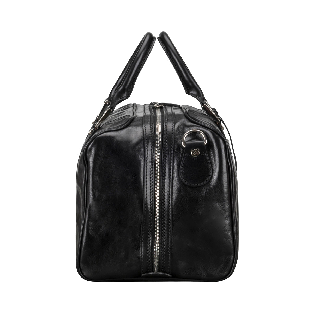 Image 3 of the 'Flero' Compact Black Veg-Tanned Leather Holdall