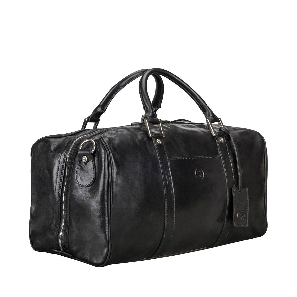 Image 2 of the 'Flero' Compact Black Veg-Tanned Leather Holdall
