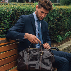 Image 9 of the 'Flero' Compact Chestnut Veg-Tanned Leather Holdall
