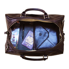 Image 7 of the 'Flero' Compact Black Veg-Tanned Leather Holdall