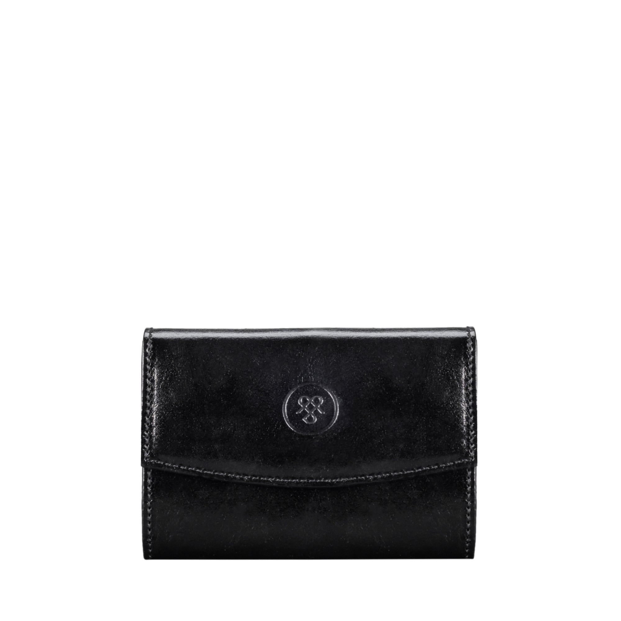 Image 1 of the 'Fontanelle' Compact Black Veg-Tanned Leather Purse