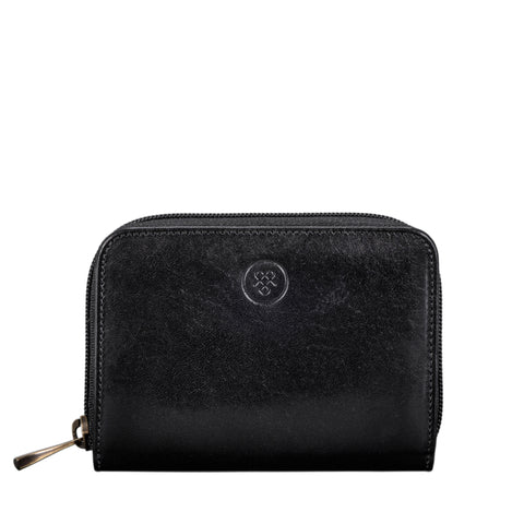 Image 1 of the 'Forino' Black Veg Tanned Leather Zip Purse