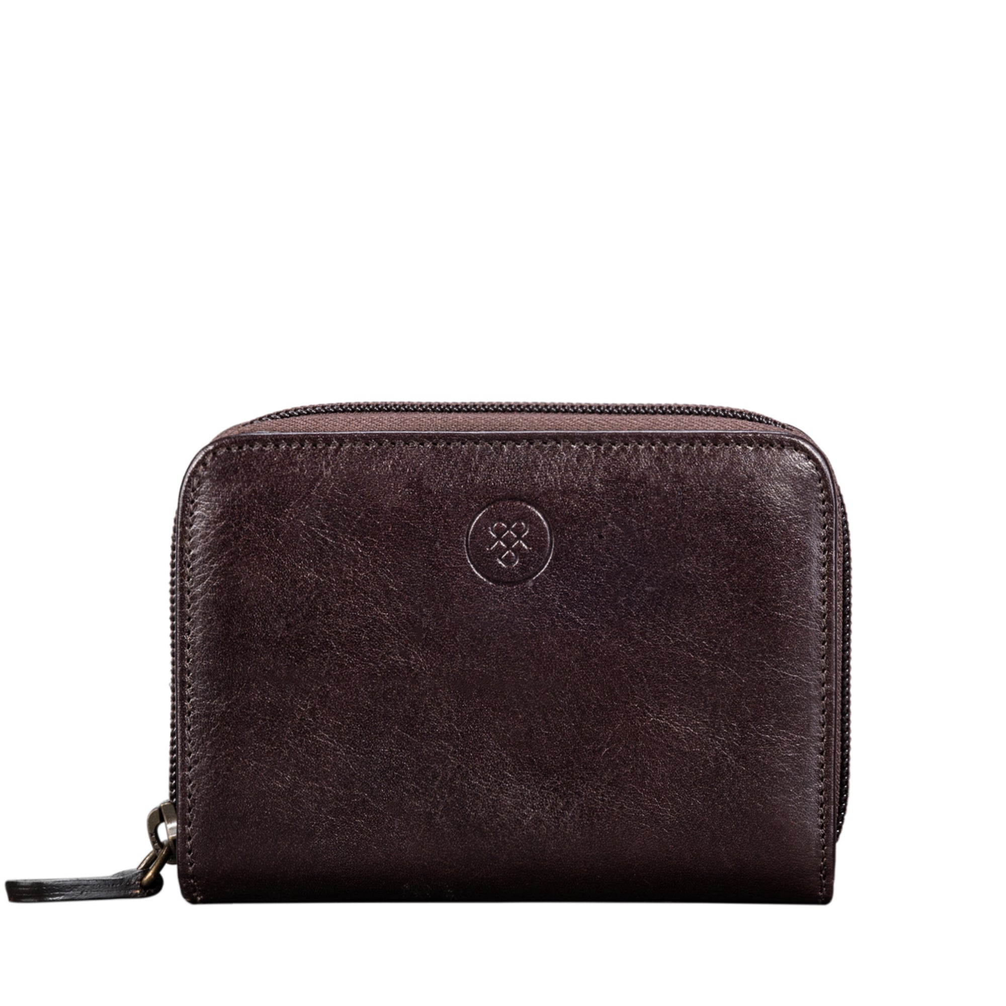Image 1 of the 'Forino' Dark Chocolate Veg Tanned Leather Zip Purse