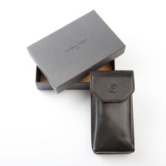 Image 5 of the 'Gabbro' Black Veg-Tanned Leather Glasses Case