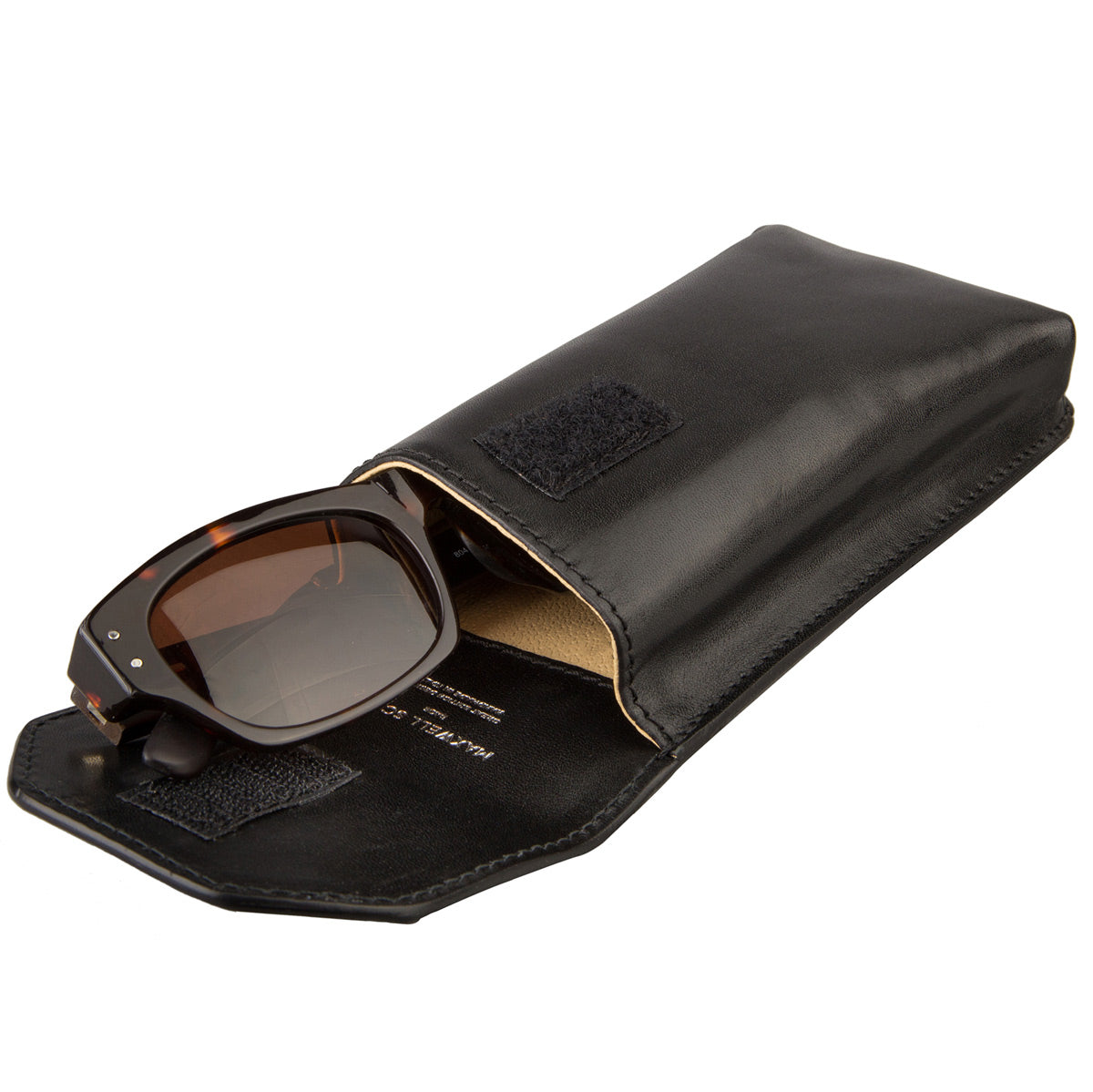 Image 4 of the 'Gabbro' Black Veg-Tanned Leather Glasses Case