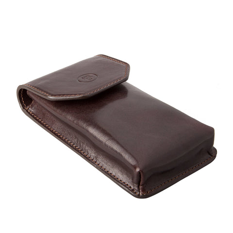 Image 2 of the 'Gabbro' Dark Chocolate Veg-Tanned Leather Glasses Case