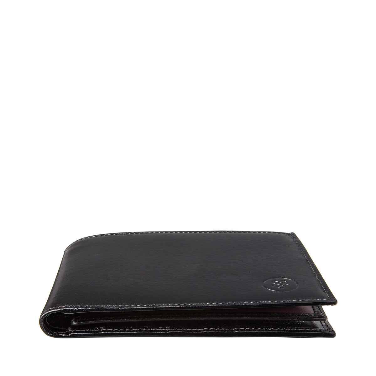 Image 6 of the 'Gallucio' Black Veg-Tanned Leather Mens Tri Fold Wallet