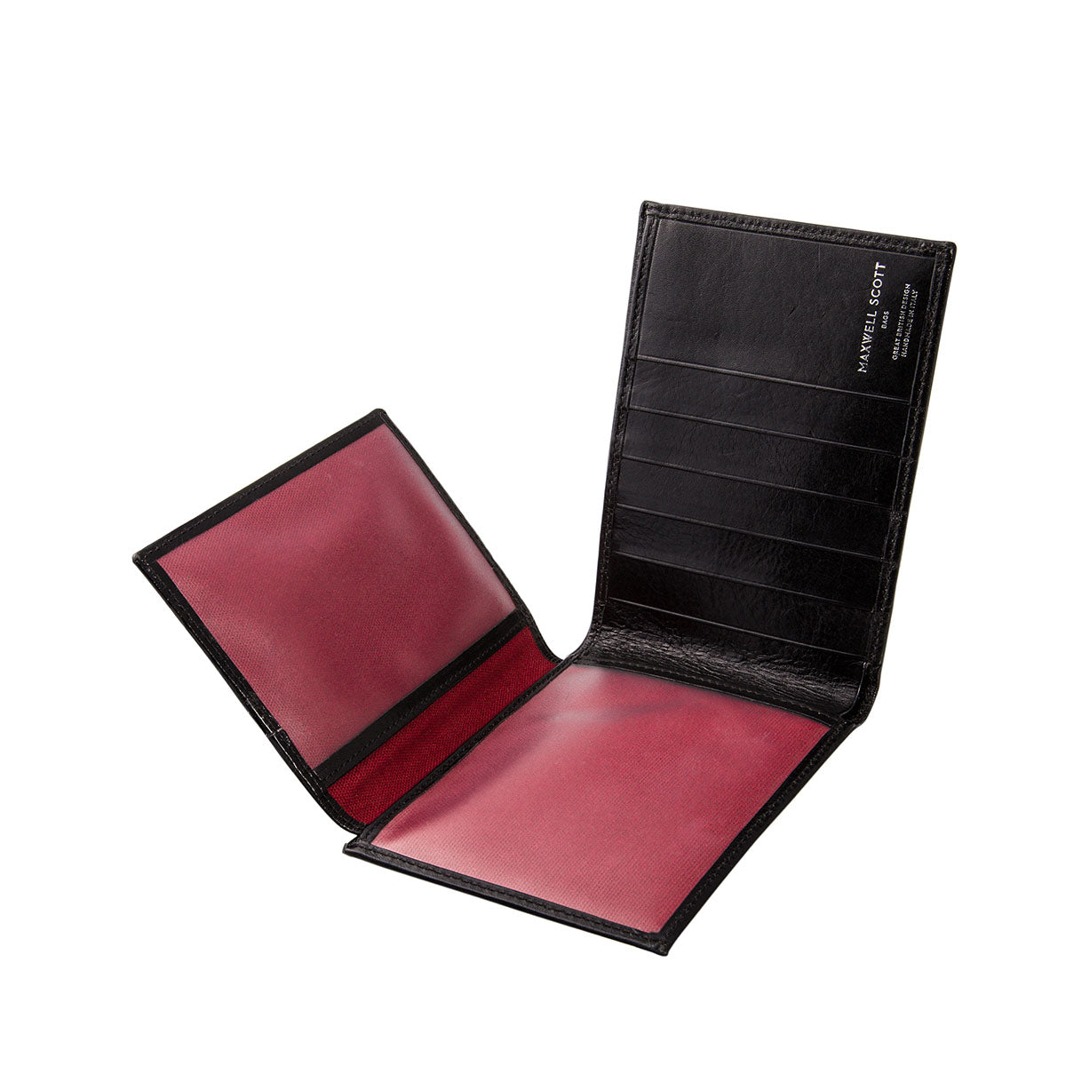 Image 5 of the 'Gallucio' Black Veg-Tanned Leather Mens Tri Fold Wallet