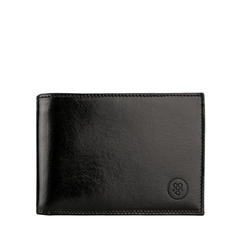 Image 1 of the 'Gallucio' Black Veg-Tanned Leather Mens Tri Fold Wallet