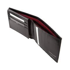 Image 4 of the 'Gallucio' Black Veg-Tanned Leather Mens Tri Fold Wallet