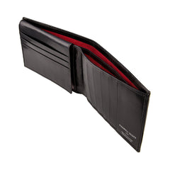 Image 3 of the 'Gallucio' Black Veg-Tanned Leather Mens Tri Fold Wallet
