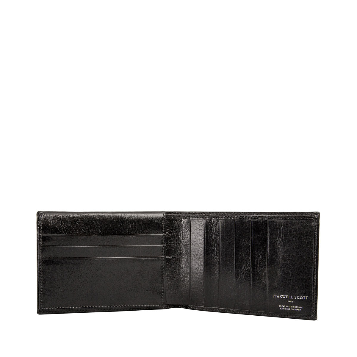 Image 2 of the 'Gallucio' Black Veg-Tanned Leather Mens Tri Fold Wallet