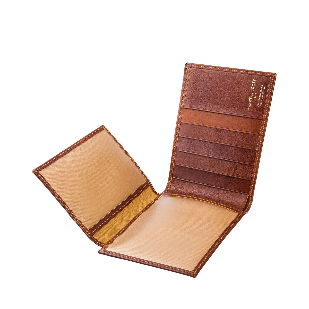 Image 3 of the 'Gallucio' Chestnut Veg-Tanned Leather Tri Fold Credit Card Wallet