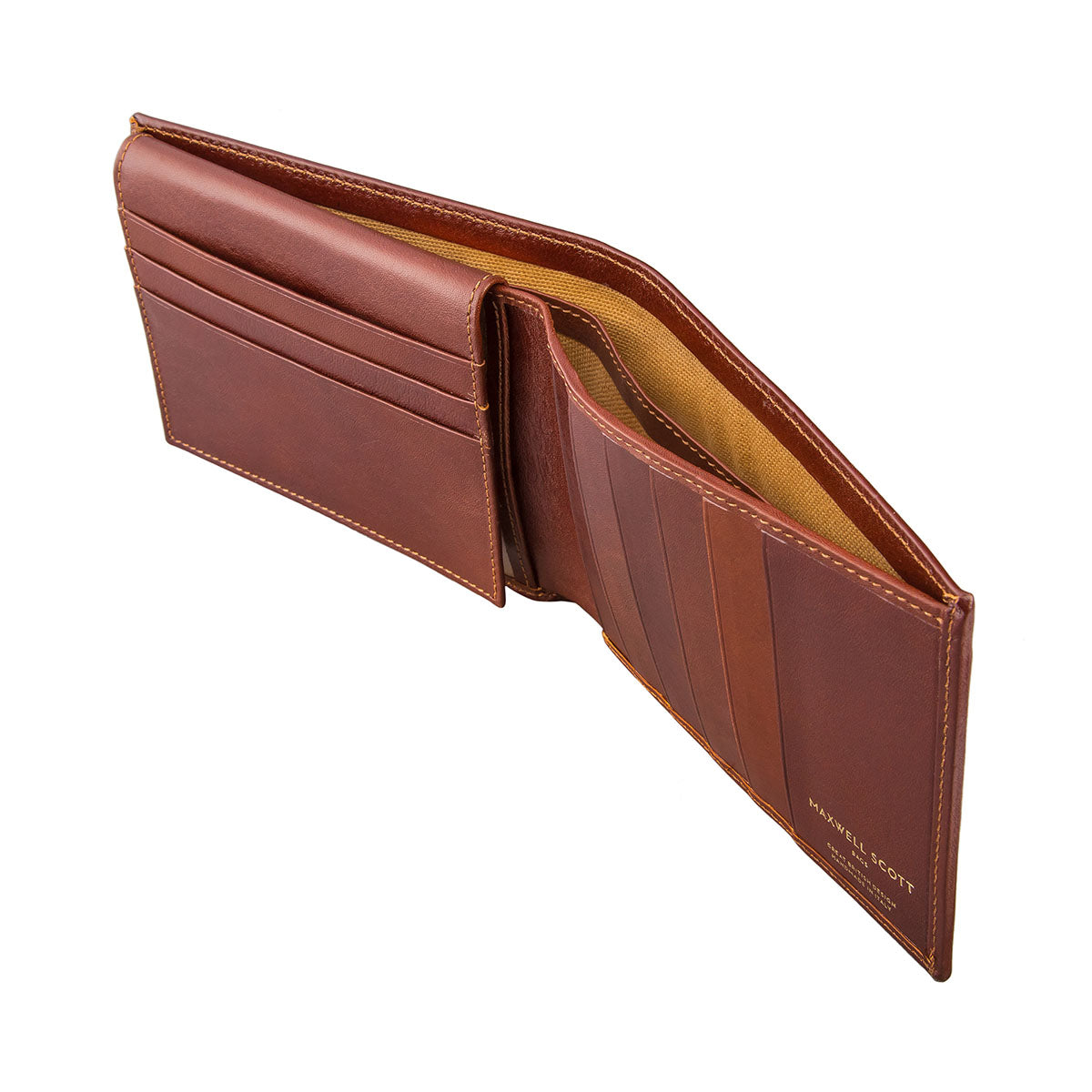Image 4 of the 'Gallucio' Chestnut Veg-Tanned Leather Tri Fold Credit Card Wallet