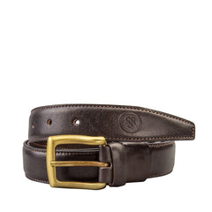 Image 1 of the 'Gianni' Dark Chocolate Veg-Tanned Leather Handmade Belt