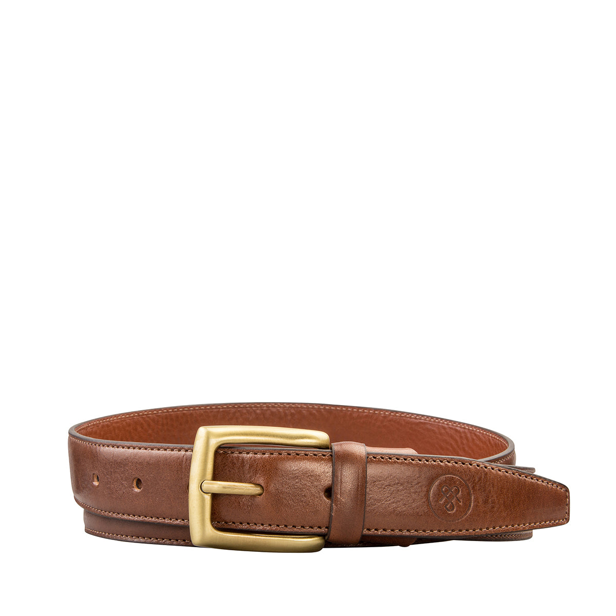 Image 2 of the 'Gianni' Chestnut Veg-Tanned Leather Handmade Belt