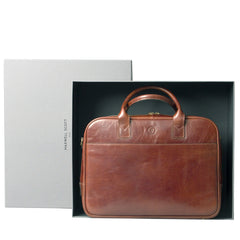 Image 7 of the 'Calvino' Chestnut Veg-Tanned Leather Briefcase
