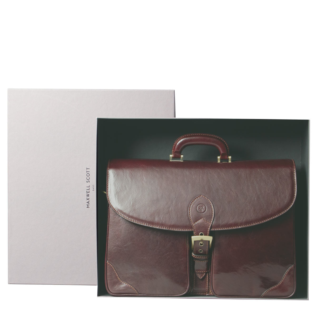 Image 7 of the 'Tomacelli' Handmade Dark Chocolate Veg-Tanned Briefcase