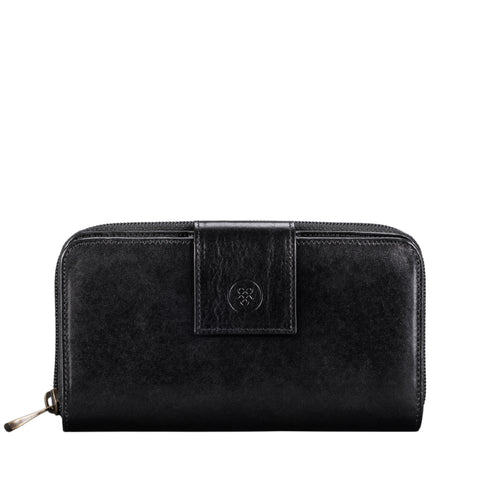 Image 1 of the Large 'Giorgia' Black Veg-Tanned Leather Zip Purse