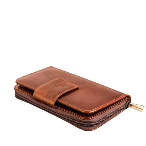 Image 2 of the Large 'Giorgia' Chestnut Veg-Tanned Leather Zip Purse