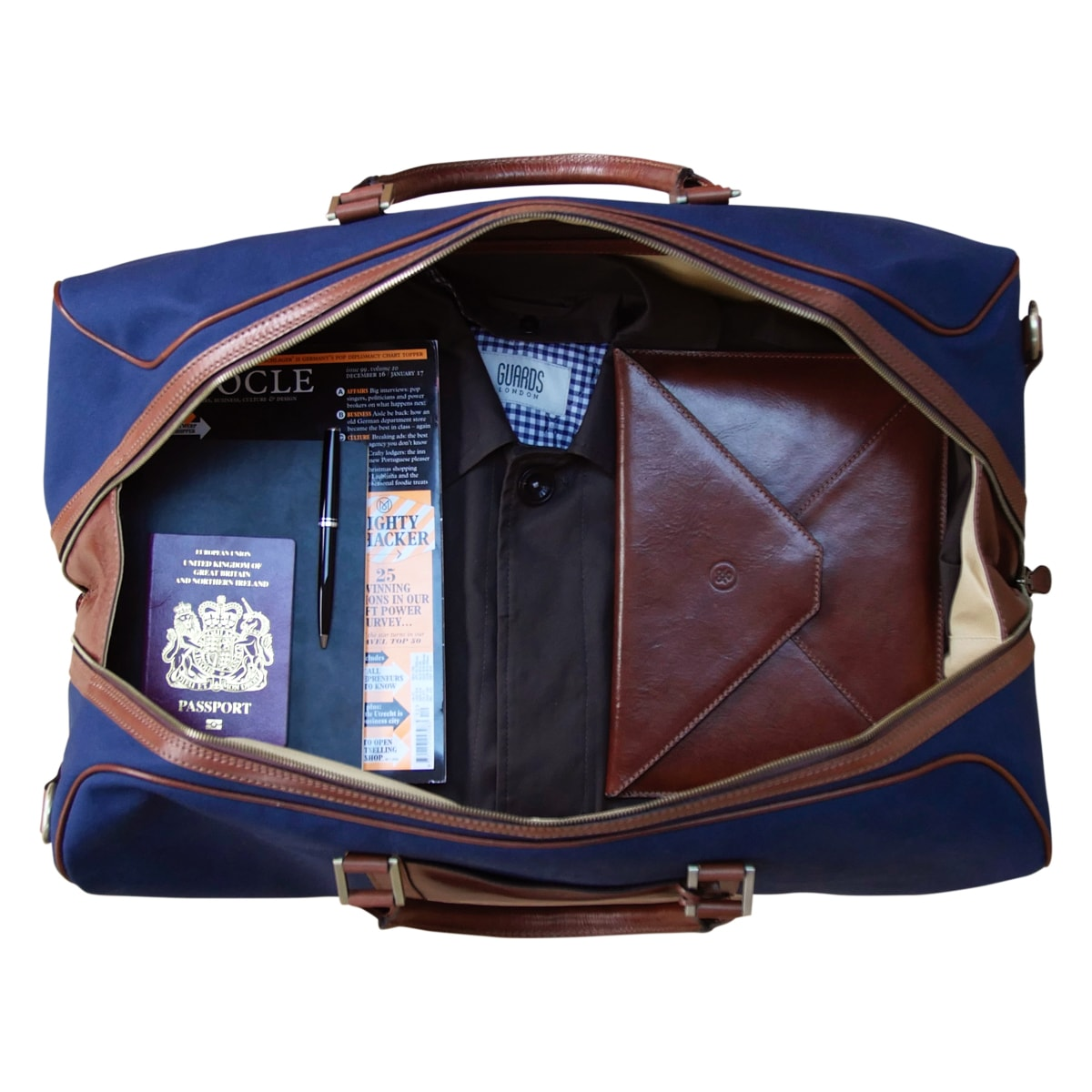 Image 7 of the 'Giovane' Rich Navy and Tan Holdall