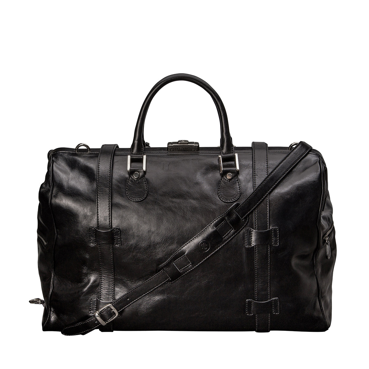 Image 4 of the 'Gassano L' Black Veg-Tanned Leather Holdall