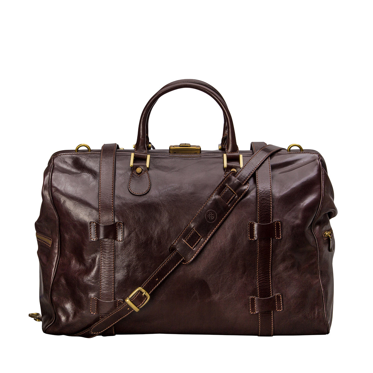 Image 4 of the 'Gassano L' Dark Chocolate Veg-Tanned Leather Holdall