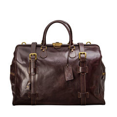 Image 1 of the 'Gassano L' Dark Chocolate Veg-Tanned Leather Holdall