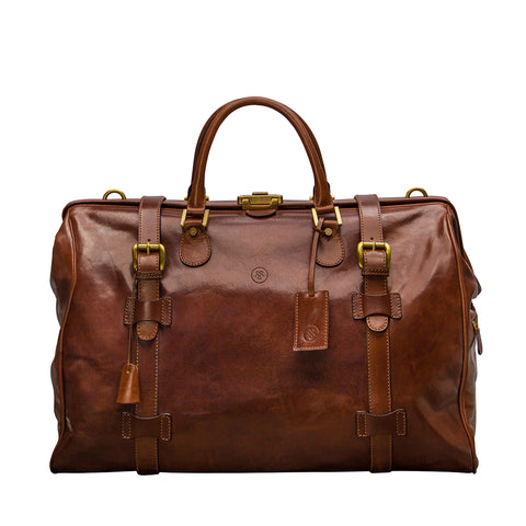 Image 1 of the 'Gassano L' Chestnut Veg-Tanned Leather Holdall