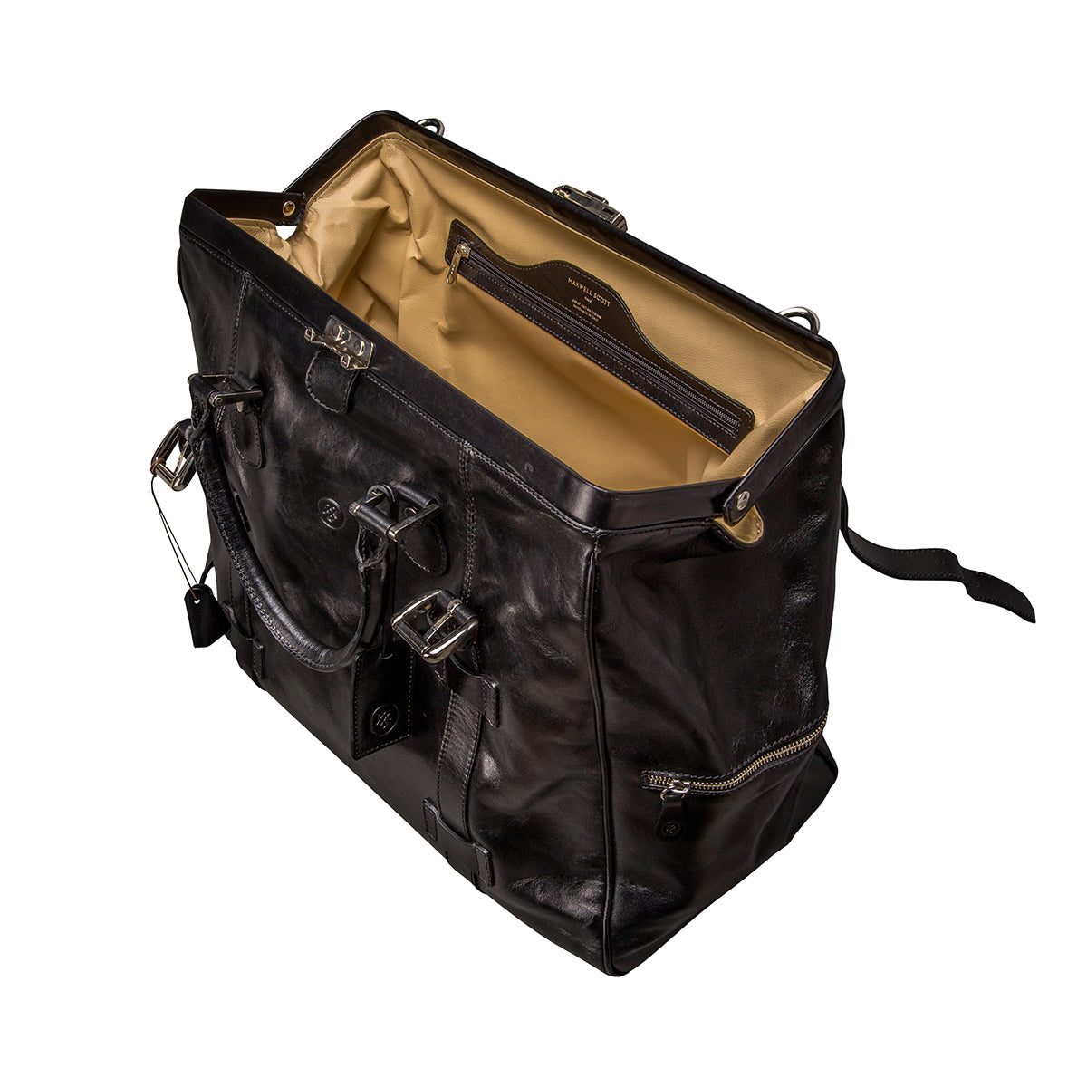 Image 5 of the 'Gassano L' Black Veg-Tanned Leather Holdall