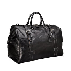Image 2 of the 'Gassano L' Black Veg-Tanned Leather Holdall