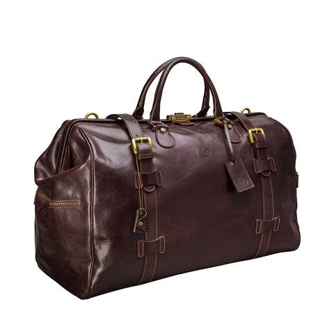 Image 2 of the 'Gassano L' Dark Chocolate Veg-Tanned Leather Holdall