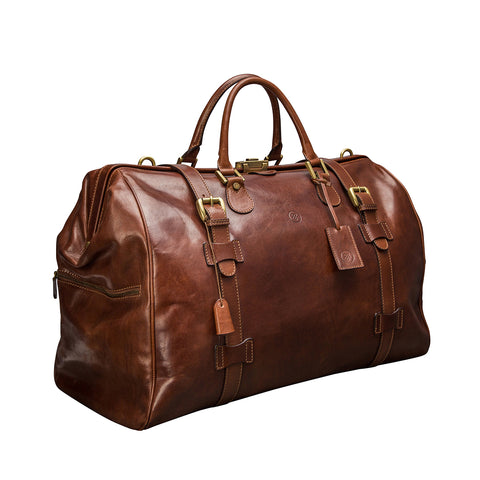Image 2 of the 'Gassano L' Chestnut Veg-Tanned Leather Holdall